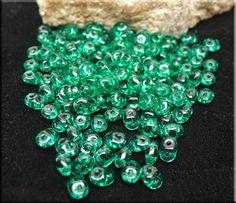 Emerald Super Duo Beads, Czech Glass SuperDuo Seed Beads : Benson Beads