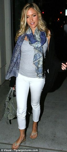 Celebrity Scarf Watch: Kristin Cavallari wearing a large blue patterned scarf.