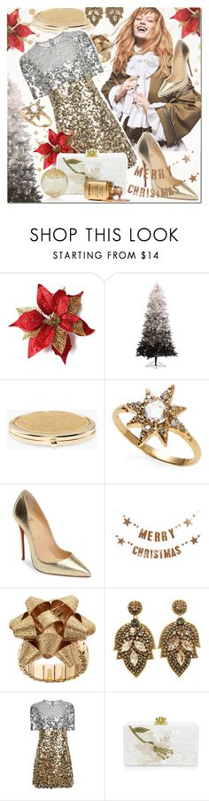 """""""Be Happy It's Christmas!"""" by elena-777s ❤ liked on Polyvore featuring Chico's, Anzie, Christian Louboutin, Bloomingville, Dolce&Gabbana, Edie Parker, K&K Interiors, Christmas, christmas2016 and autumnwinter2016"""