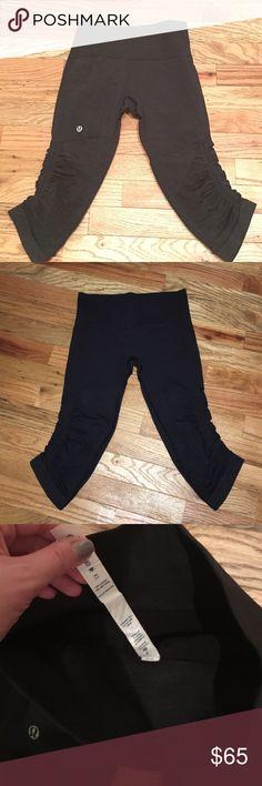 BRAND NEW LULULEMON RUCHE CAPRI IN BLACK Black capri ruche legging size 2 lululemon athletica Pants Leggings