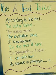 Be a Text Talker Anchor Chart for close reading. How to reference the text in kid-friendly language. Trendy Tales of a Teacher:
