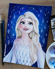 """Tas KreationStudio on Instagram: """"*SOLD* Original Elsa Watercolour 😄 I love this scene so much there's just so much magic and emotion! 😍 And obviously her gorgeous dress! A5…"""" Disney Canvas Paintings, Disney Canvas Art, Disney Art, Walt Disney, Disney Princess Pictures, Disney Princess Drawings, Disney Drawings, Princess Disney, Kawaii Drawings"""