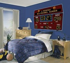 Scoreboard would be so cool in a sports fanatics room. I think I could paint that on the wall! Hockey scoreboard though, not basketball! Boys Basketball Room, Basketball Scoreboard, Basketball Uniforms, Basketball Stuff, Basketball Tickets, Basketball Party, Awesome Bedrooms, Dream Rooms, New Room