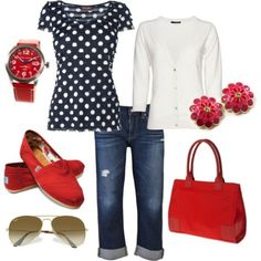 Black with white polka dot t-shirt, white cardigan, dark crop jeans, red purse, flower earrings, red watch, red Toms Shoes, aviator sunglasses
