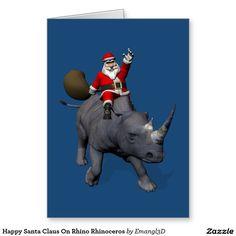 Happy Santa Claus On Rhino Rhinoceros - 50 Greeting Cards