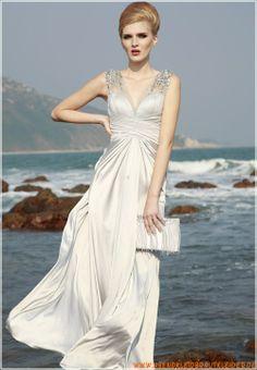 2013 Sexy Abendkleider aus Chiffon und Stretchsatin V-Ausschnitt mit Perlen