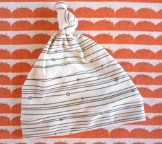 ORGANIC Baby Top Knot Hat  Cream & Black Linear by juniperwilde, $13.00