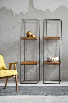 meble - regały i półki-Regał metalowy z dębowym blatem 150cm