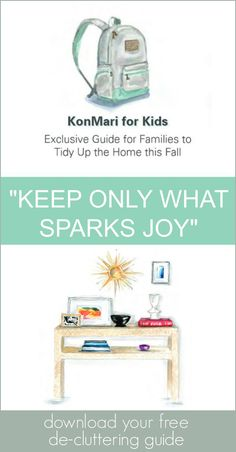 "Get help decluttering, organizing and making money from your old stuff... all while getting your kids to help. In this sponsored post, we share how the ""KonMari for Kids Exclusive Guide for Families"" will help your family tidy up."
