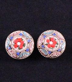 Antique Italian Micro Mosaic Clip Earrings by Paststore by paststore on Etsy