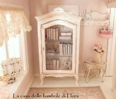 SALE French cabinet with books and accessories - 1/12 dolls house dollhouse miniature