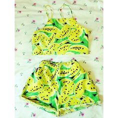 Matching shorts and strappy cropped top in a funky watermelon print.