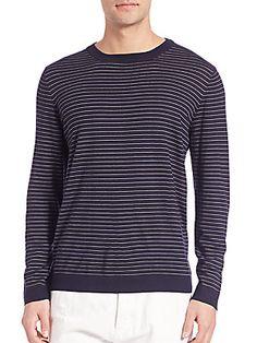 Brunello Cucinelli Striped Wool & Cashmere Sweater - Navy - Size 5