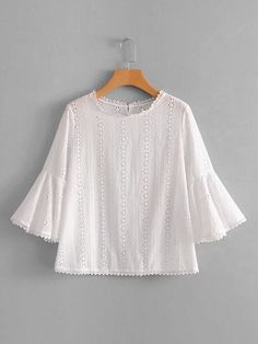 dd40b390743 SheIn offers Eyelet Embroidered Flounce Sleeve Blouse   more to fit your  fashionable needs.