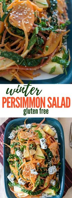 Winter Persimmon Salad with Kale, Apples, Carrots – Vegan option included An easy persimmon salad made using seasonal winter produce – naturally gluten free and vegan option easily possible by omitting the cheese Superfood Recipes, Healthy Salad Recipes, Veggie Recipes, Fall Recipes, Indian Food Recipes, Delicious Recipes, Vegetarian Breakfast Recipes, Vegetarian Salad, Vegan Options
