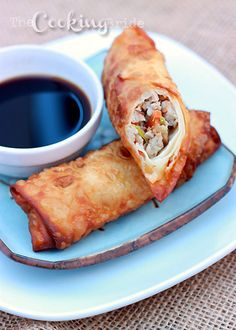 Make your own egg rolls at home. It's easy! Ground pork, carrots, Napa cabbage, and spices are wrapped in wonton wrappers and fried until golden brown.