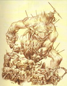 It´s not easy to be a big troll when you got problems with a large force of troll-hating goblins. High Fantasy, Fantasy Rpg, Medieval Fantasy, Fantasy Artwork, Mythological Creatures, Fantasy Creatures, Mythical Creatures, Creature Concept Art, Creature Design