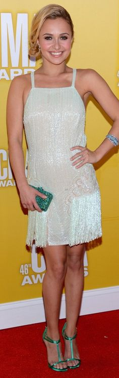 Who made Hayden Panettiere's jewelry and beaded dress that she wore in Nashville on November 1, 2012? Dress = Georges Chakra Couture water green Charleston  Bracelet – L'Dezen
