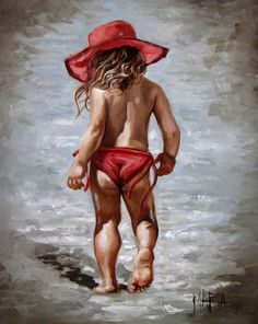 Rooi hoed op die strand by Maria Magdalena Oosthuizen Painting People, Painting For Kids, Painting & Drawing, Art For Kids, Mädchen In Leggings, South African Artists, Beach Art, Beautiful Paintings, Painting Inspiration