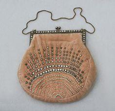 1920's French Beaded Velvet Evening Bag