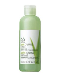 The Body Shop Aloe Calming Toner. First impressions: it's gentle and it left my skin so moisturized that I didn't feel the need to apply moisturizer after I used it.