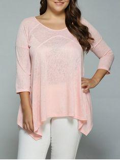 Plus Size Heather Side Slit Asymmetrical Blouse