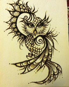 henna designs owl - Google Search