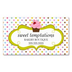 Whimsical Cherry Cupcake Bakery Business Cards. I love this design! It is available for customization or ready to buy as is. All you need is to add your business info to this template then place the order. It will ship within 24 hours. Just click the image to make your own!