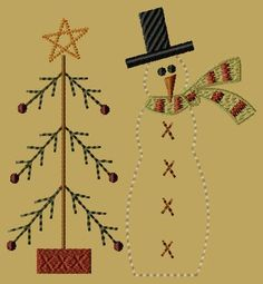 PK019 Snowman with Tree - 5x7 - $8.00 : Primitive Keepers, Prim Machine Embroidery Designs