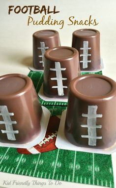 Football Pudding Snacks for a fun Game Day food. Easy Football Pudding Cup Fun Food Craft - The easiest and most fun game day food for kids! Football Treats, Football Party Foods, Football Birthday, Sports Birthday, Football Food, Sports Party, Football Themed Parties, Flag Football Party, 2nd Birthday