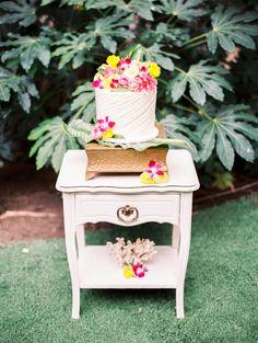 wedding cake table - photo by Angelica Chang Photography http://ruffledblog.com/hawaiian-garden-wedding-inspiration