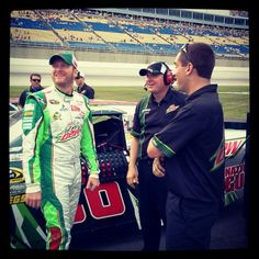 "Photo by @teamhendrick on Instagram: ""#DaleJr with his #DewCrew out on pit road during #NASCAR qualifying @KySpeedway."""
