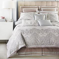 """Dress your bed in the elegance of """"Paisley Royale,"""" a classic pattern rescaled for modern effect, in gentle earth tones that will instantly turn your bedroom into a peaceful haven.        100% Combed cotton percale      450 thread count      Dry clean      Imported      92"""" x 96"""""""