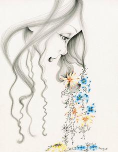 Fine Art Giclee Print of my Original Pencil by ABitofWhimsyArt girl crying
