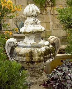 Urn and wall fountain Garden Urns, Garden Statues, Vibeke Design, Urn Planters, Modern Garden Design, Garden Ornaments, Dream Garden, Yard Art, Garden Inspiration