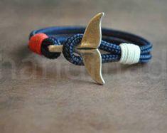 Blue whale tail mens paracord nautical bracelet nautical