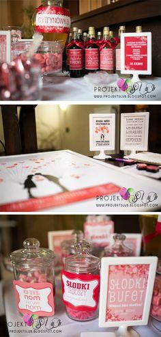 projekt ŚLUB - zaproszenia ślubne, oryginalne, nietypowe dekoracje i dodatki na wesele Bar Drinks, Drink Bar, Save The Date, Nom Nom, Diy And Crafts, Water Bottle, Wedding, Alcohol, Valentines Day Weddings