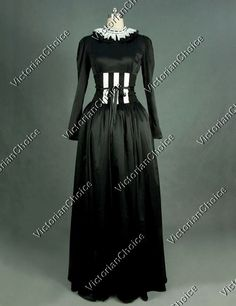 Gothic Edwardian Regency Victorian Collared Steampunk Corset Period Dress Halloween Costume