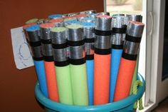 Make your own Light Saber with pool noodles.