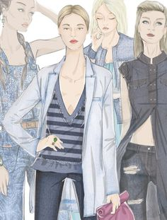 See the new forecasting fashion trends about Total look Illustrations SS17 | Development | Denim, Total look illustrations with 5forecastore.