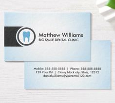 Tooth logo blue gradient dentist dental business cards. Modern personal profile or business card featuring a blue tooth surrounded by a gray, round border. Name, title and contact information on the back, dark gray text.