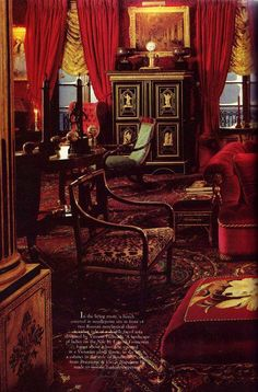 Detail of a lush, red room.