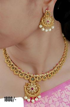 Gold Necklace Simple, Gold Jewelry Simple, Gold Earrings Designs, Necklace Designs, Jewellery Designs, Gold Wedding Jewelry, Choker Necklace Online, Gold Choker Necklace, Bridal Necklace