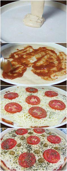 PIZZA DE LIQUIDIFICADOR de 15 minutos #pizzafacil #pizzarapida #pizzabarata #massas