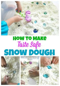 How to Make Snow Dough (Taste Safe) – Only 2 Ingredients! 2 ingredients and a whole bunch of fun! make this snow dough for your toddler or preschooler to enjoy. A lovely sensory bin and part of our 12 months of taste safe sensory doughs. Snow Activities, Sensory Activities, Infant Activities, Sensory Play, Winter Activities For Toddlers, Snow Sensory Table, Toddler Sensory Bins, Winter Crafts For Toddlers, Preschool Christmas Activities