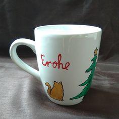Diese handbemalte Kaffeetasse, inkl. Spruch, wurde mit Porzellanfarben bemalt und im Backofen gebacken. Mugs, Tableware, Coffee Cups, Oven, Christmas, Dinnerware, Tumblers, Tablewares, Mug
