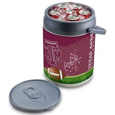 Picnic Time 690-00-000-565-0 Texas A and M Aggies Football Digital Print Can Cooler in Silver/Gray