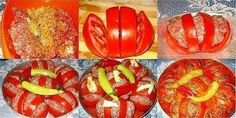 Baked tomatoes with minced meat — delicious and beautifu Russian Recipes, Turkish Recipes, Lebanese Recipes, Carne Picada, Mince Meat, Decoration Table, Winter Food, Winter Meals, Four