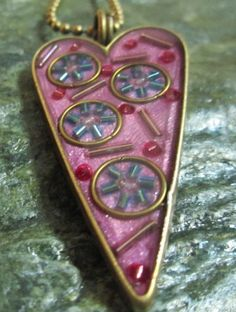 Items similar to Heart mixed media pendant in lilac, mauve, turquoise and pink on Etsy Mauve, Lilac, Pink, Evolution, Polymer Clay, Mixed Media, Journey, Turquoise, Texture
