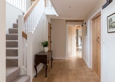 Border Oak Farmhouse ~ Hallway design similar to my hallway – carpet stairs House Design, House, Home, Oak Frame House, Country Interior, House Styles, Hallway Flooring, Oak Doors, Hallway Designs
